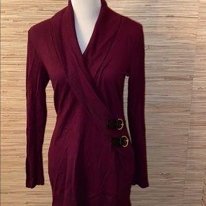 Inc. burgundy medium v neck sweater EUC! Buckles